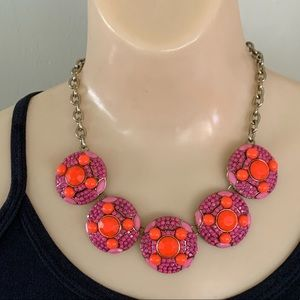 J.Crew Orange/Pink Circle Statement Necklace